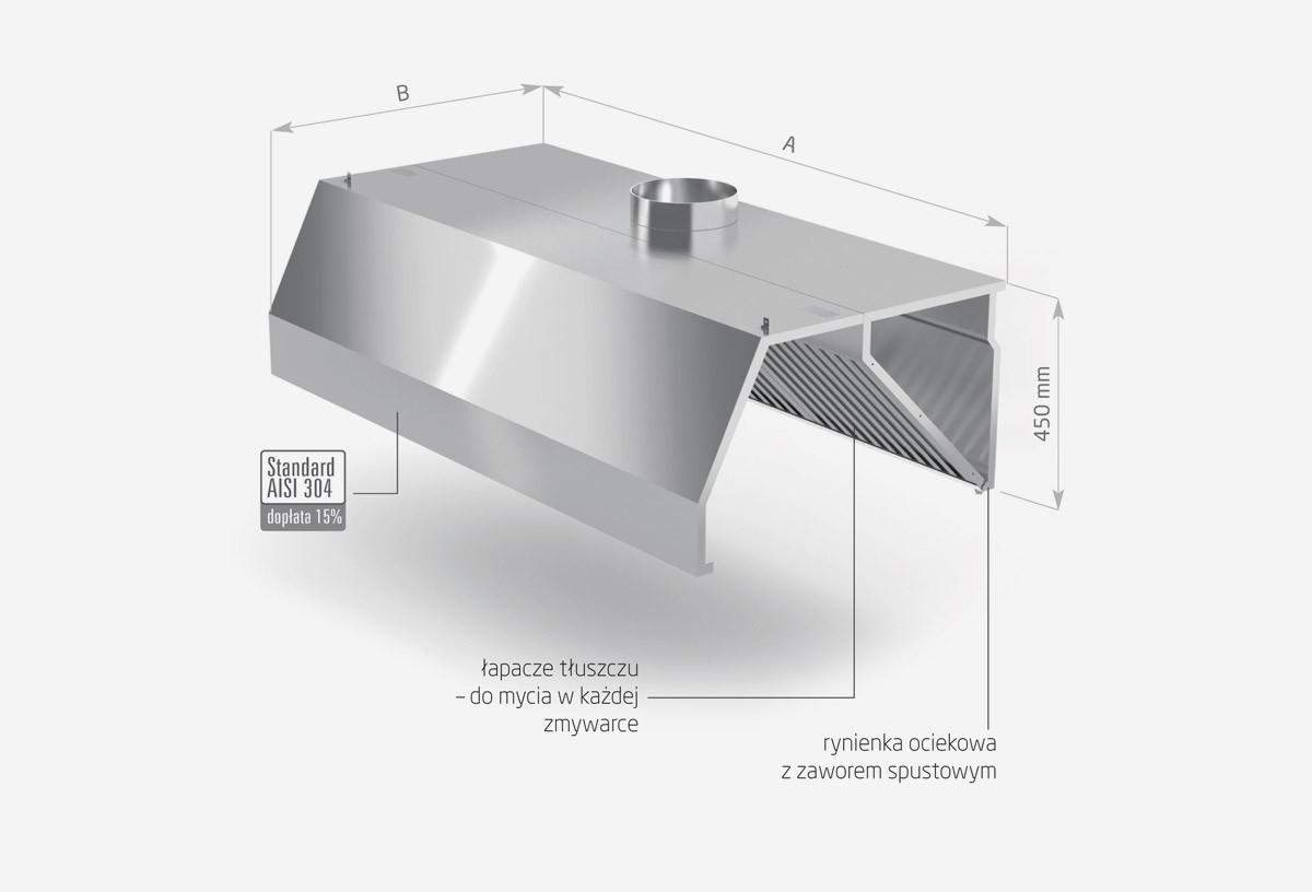 Okap przyścienny trapezowy - POL-740