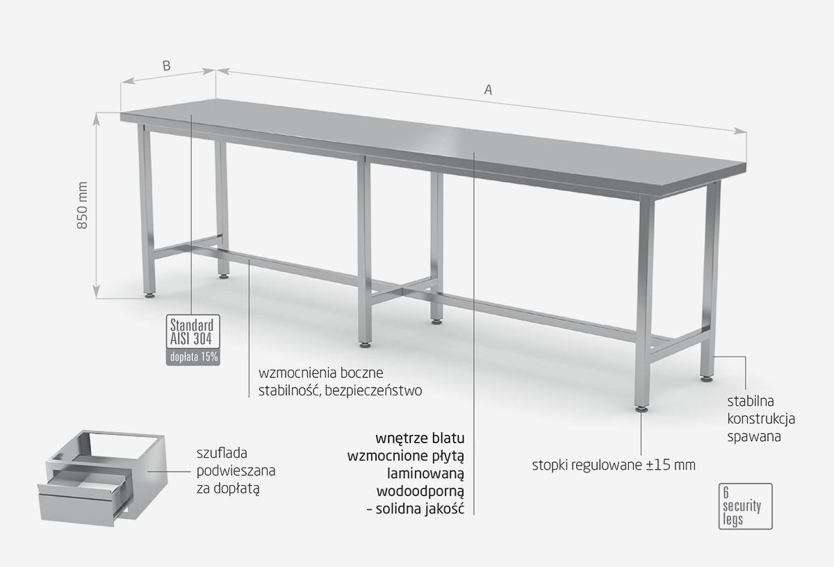 Stół centralny wzmoniony bez półki- POL-111-6