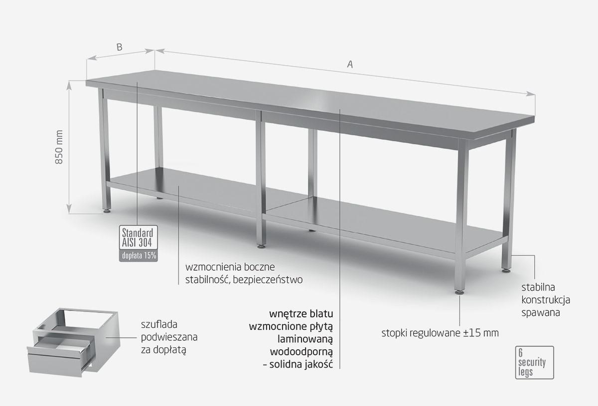 Stół centralny z półką - POL-112-6