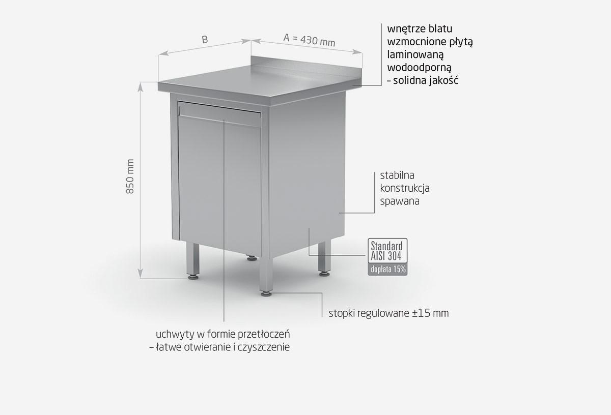 Stół przyścienny szafka z pojemnikiem wychylnym - POL-131