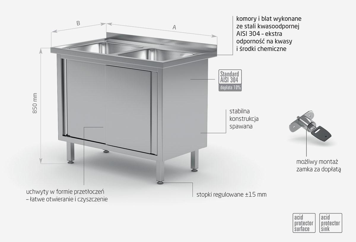 Stół z dwoma zlewami, szafka z drzwiami suwanymi - POL-227