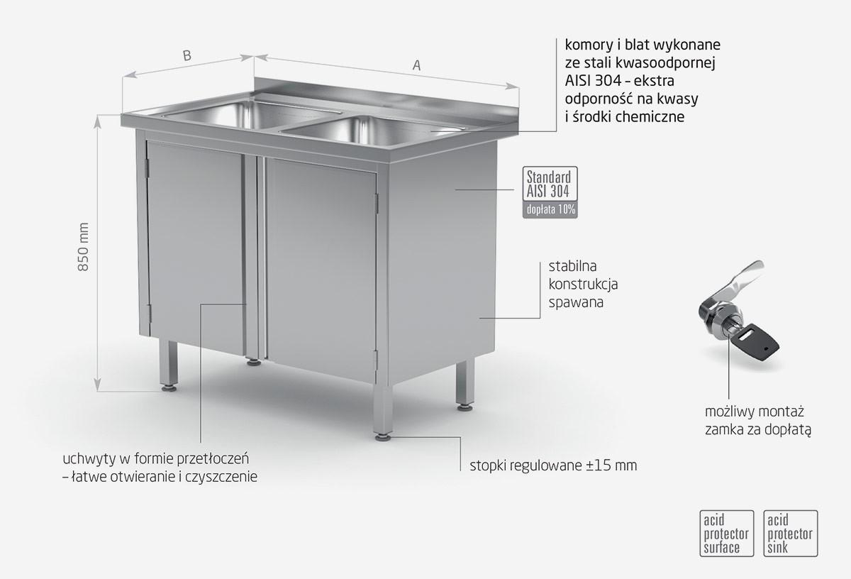 Stół z dwoma zlewami, szafka z drzwiami na zawiasach - POL-228