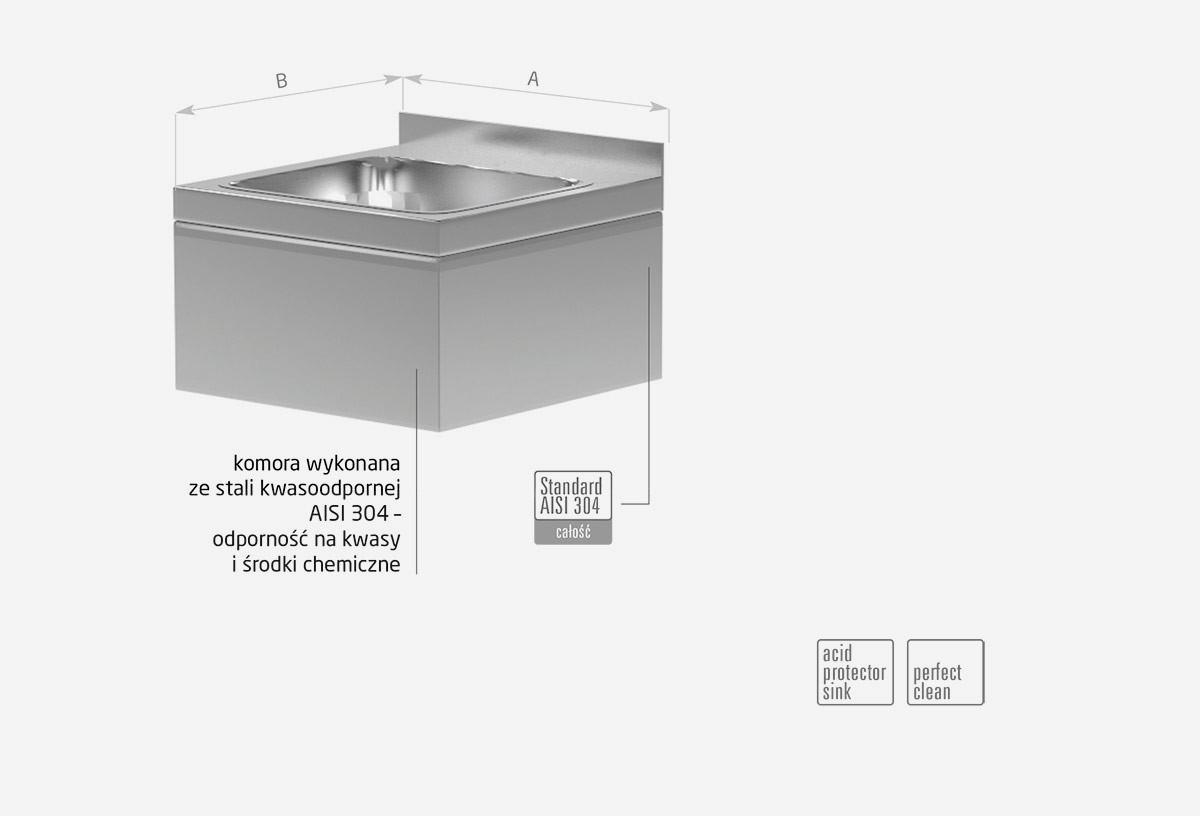 Umywalka zabudowana, komora prostokatna