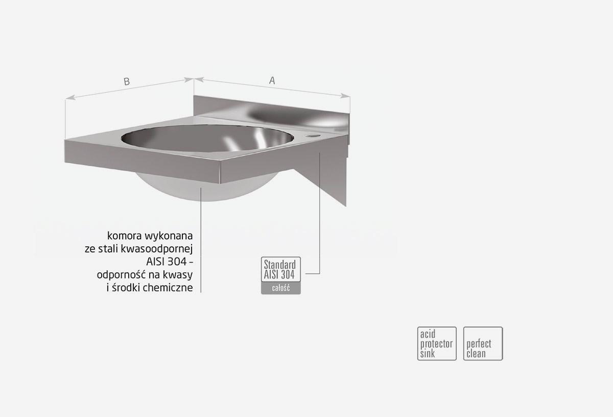 Umywalka niezabudowana, komora półokrągła