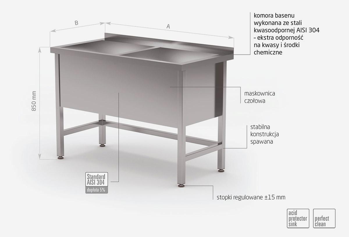 Stół z basenem dwukomorowym, wysokość komory 400 mm - POL-206/4