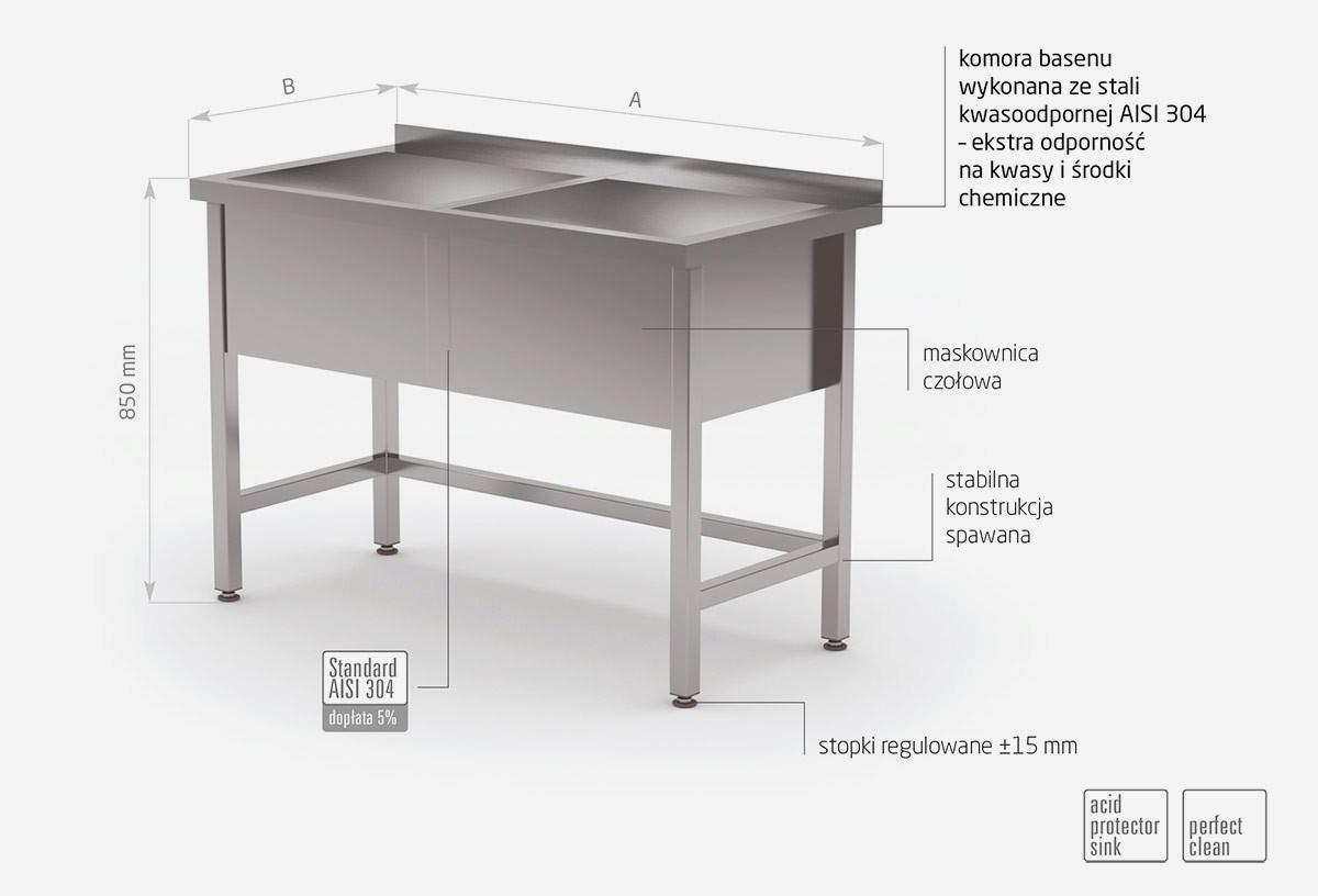 Stół z basenem dwukomorowym, wysokość komory 300 mm - POL-206/3