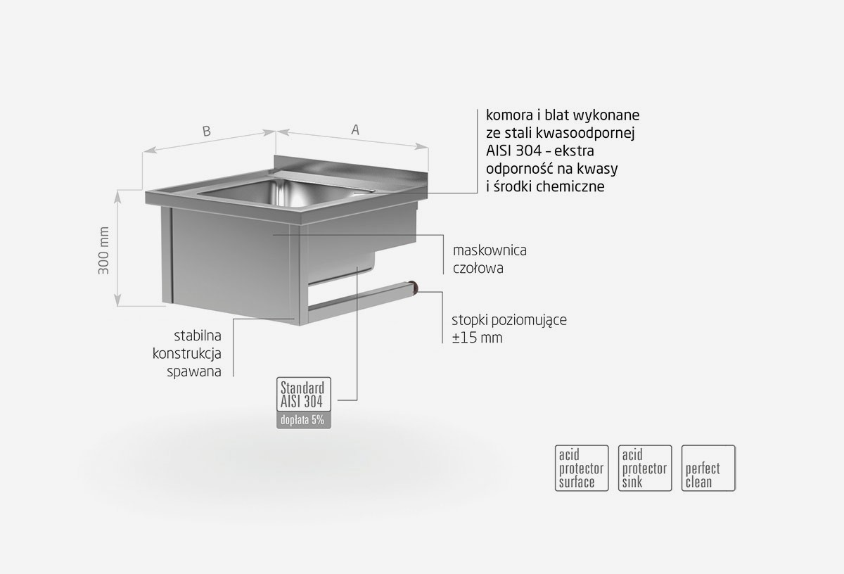 Stół wiszący ze zlewem - POL-211-WI