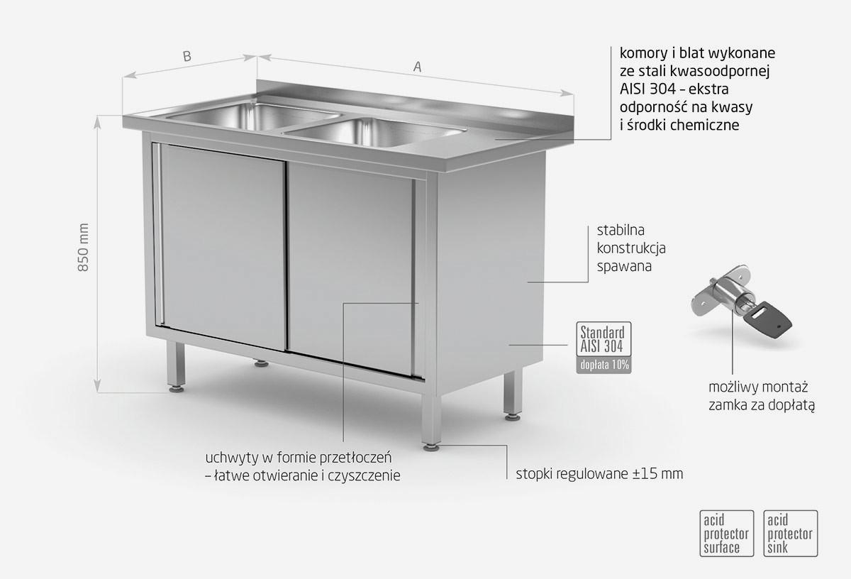 Stół z dwoma zlewami, szafka z drzwiami suwanymi - komory po lewej stronie - POL-227-L