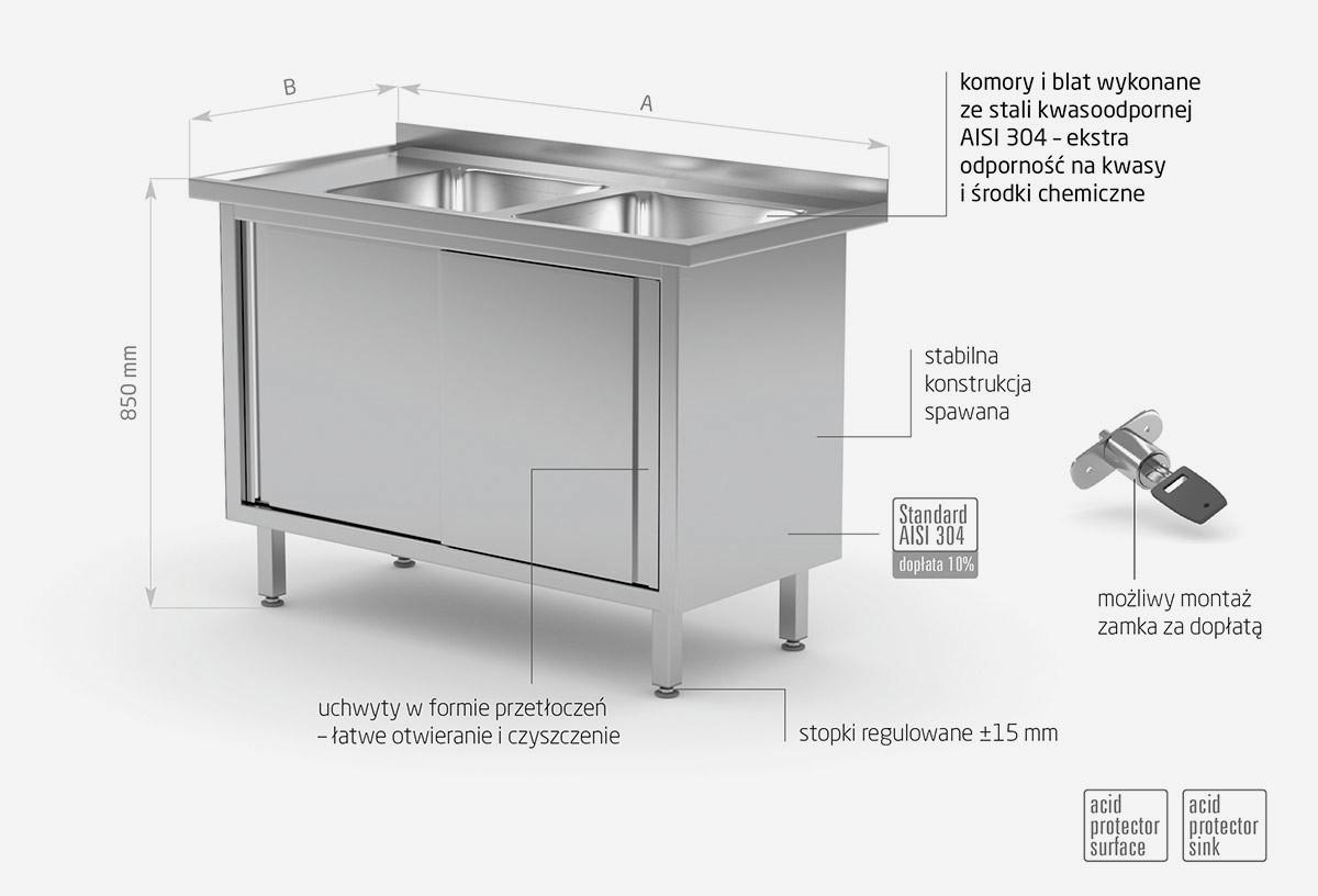 Stół z dwoma zlewami, szafka z drzwiami suwanymi - komory po prawej stronie - POL-227-P