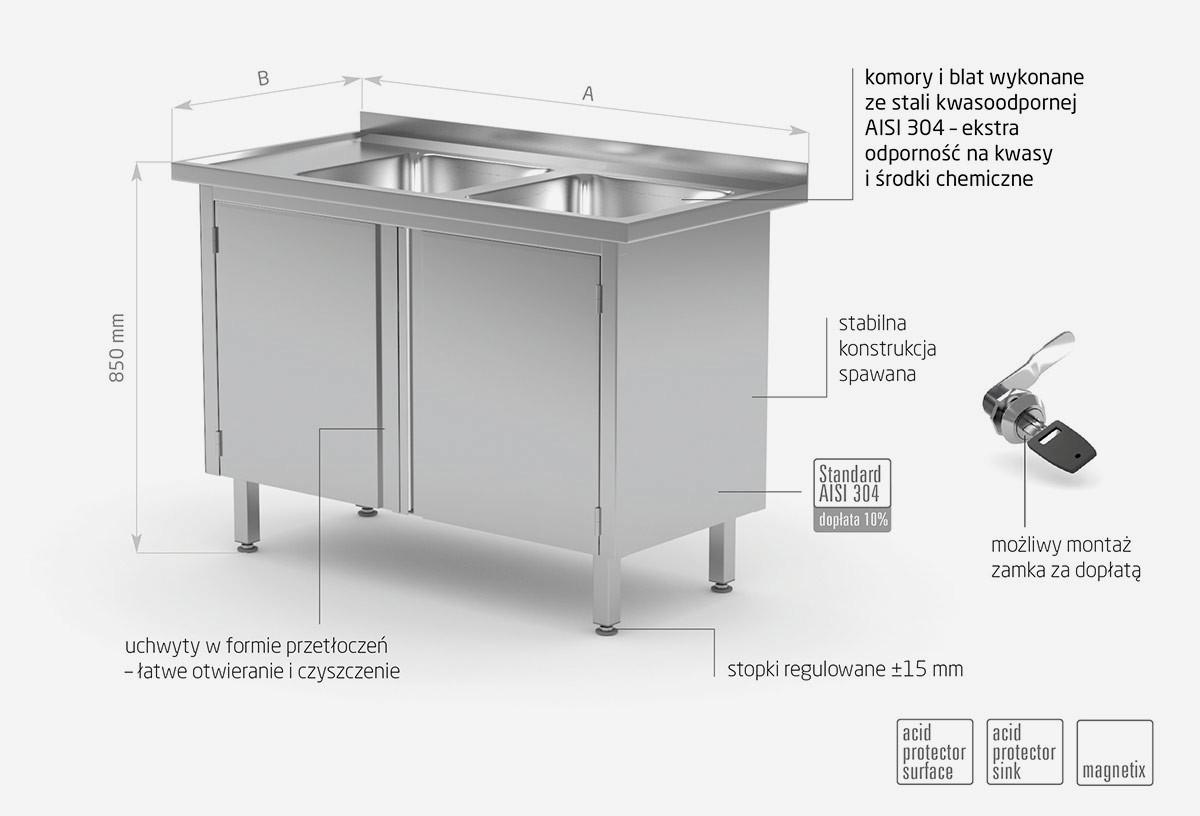 Stół z dwoma zlewami, szafka z drzwiami na zawiasach - komory po prawej stronie - POL-228-P