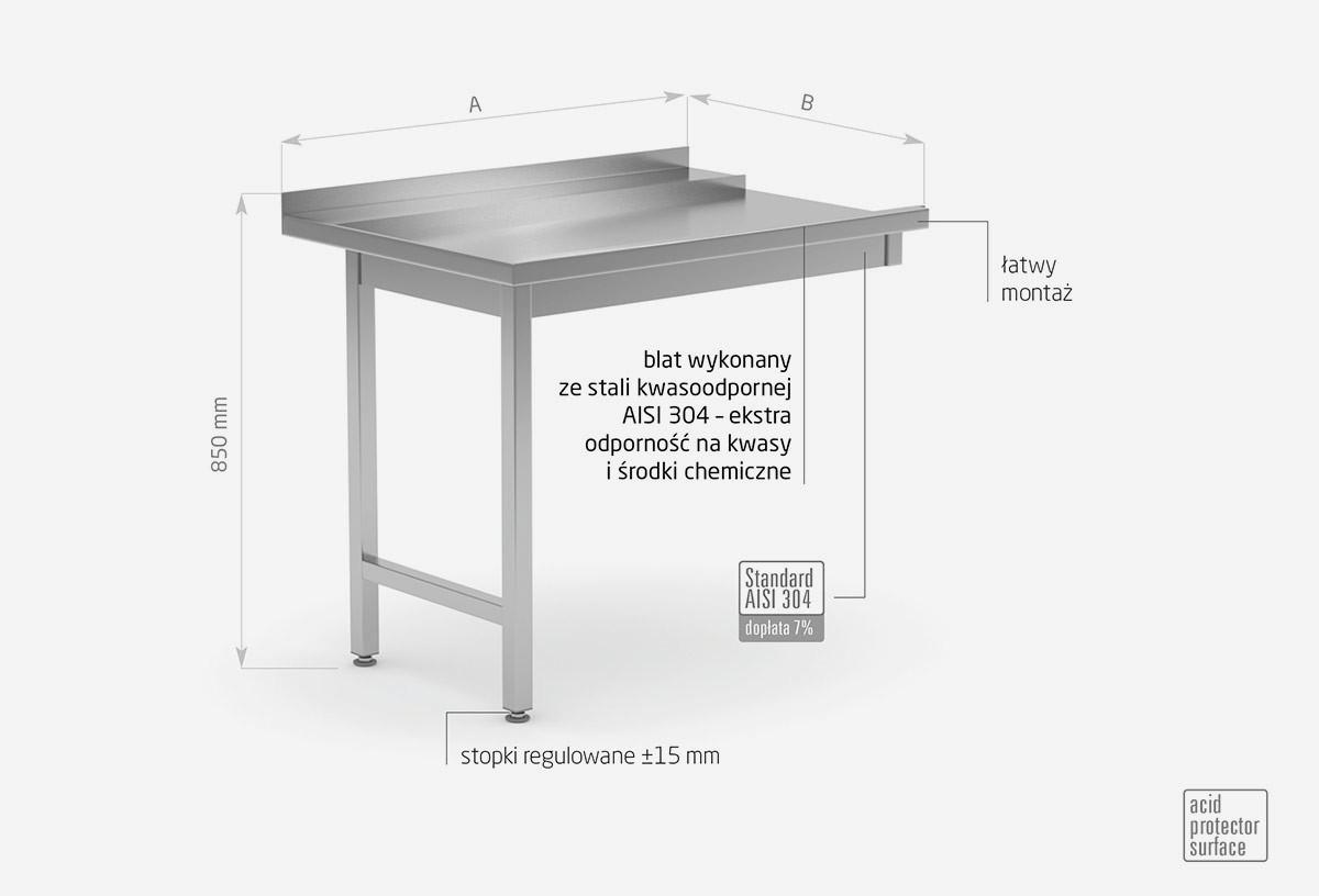 Stół wyładowczy do zmywarek na dwóch nogach skręcany - lewy