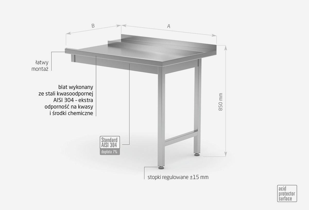 Stół wyładowczy do zmywarek na dwóch nogach skręcany - prawy