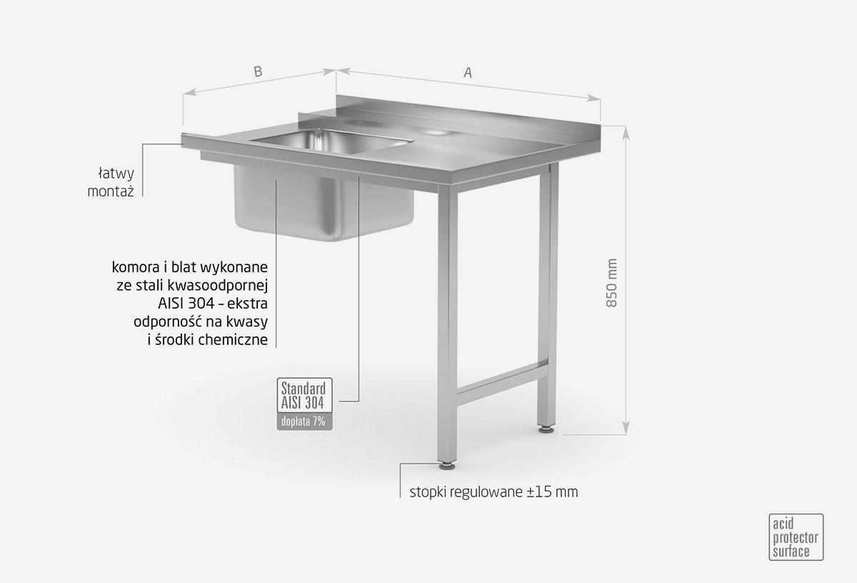 Stół załadowczy do zmywarek ze zlewem na dwóch nogach skręcany – prawy