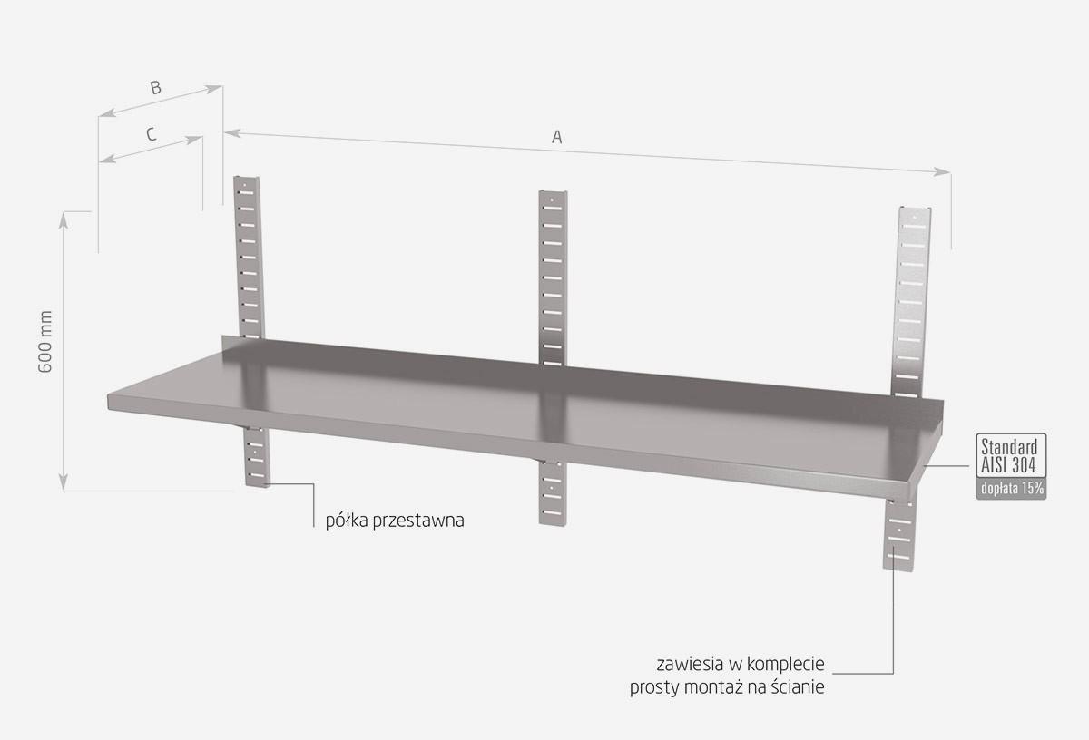 Półka wisząca przestawna pojedyncza - POL-381-3
