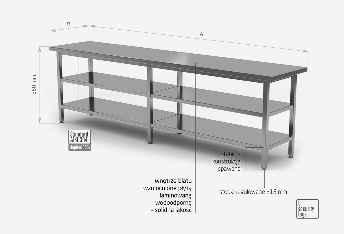 Stół centralny z dwiema półkami