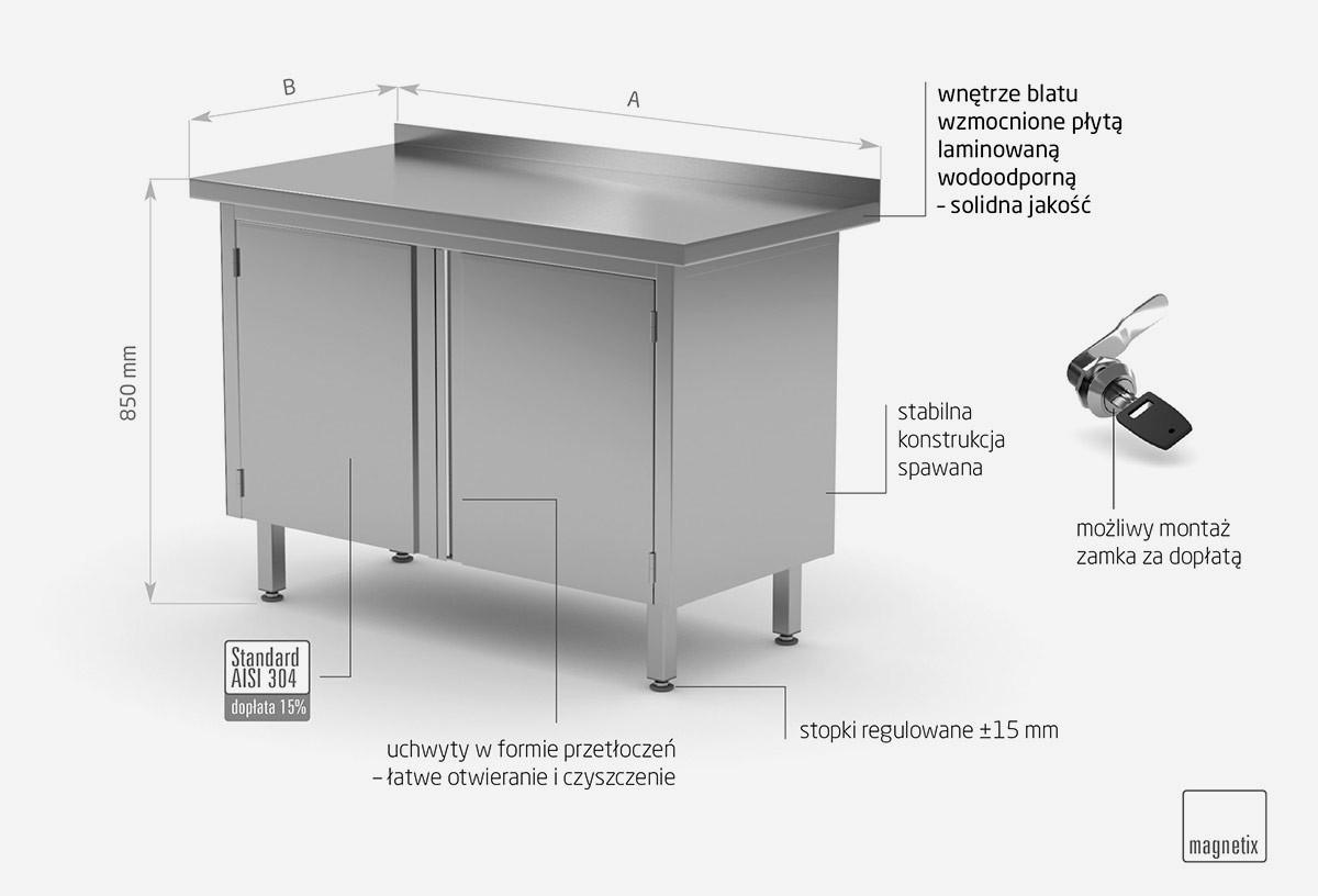 Stół przyścienny szafka z drzwiami na zawiasach - POL-128-2