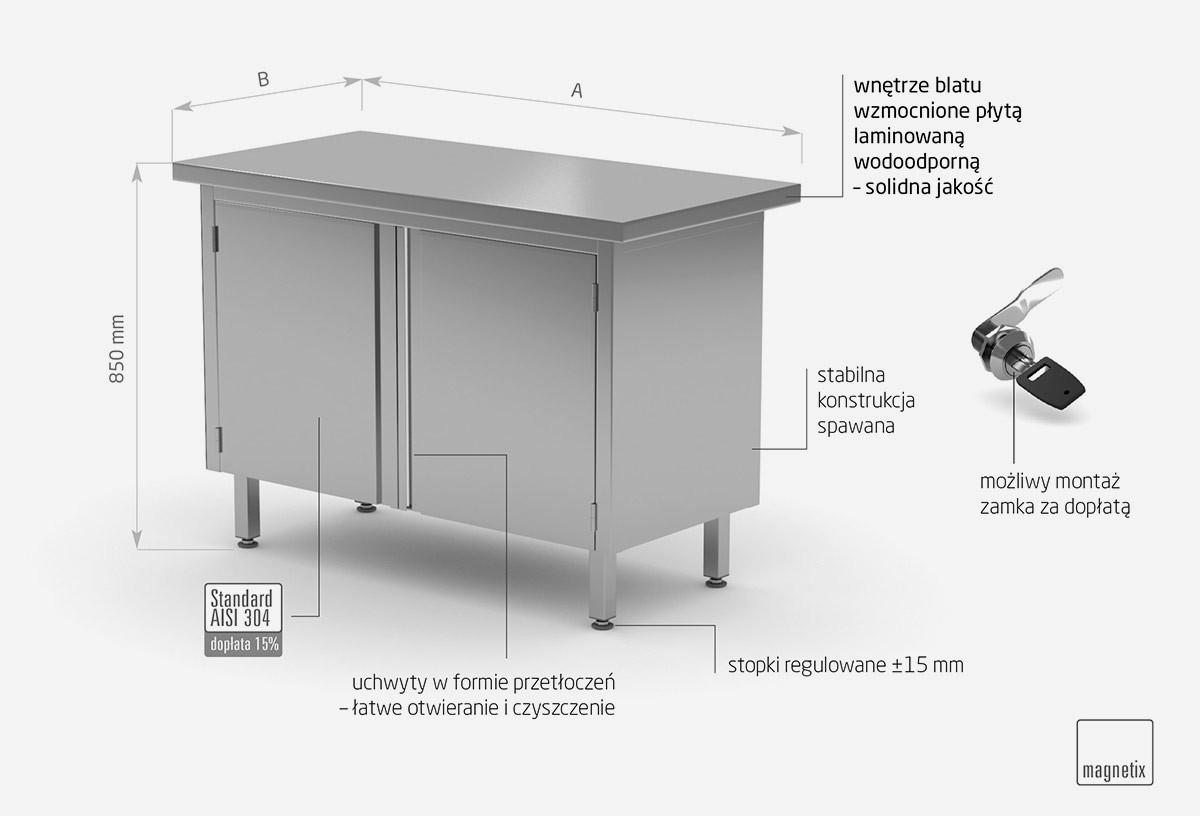Stół centralny przelotowy z drzwiami na zawiasach - POL-128P
