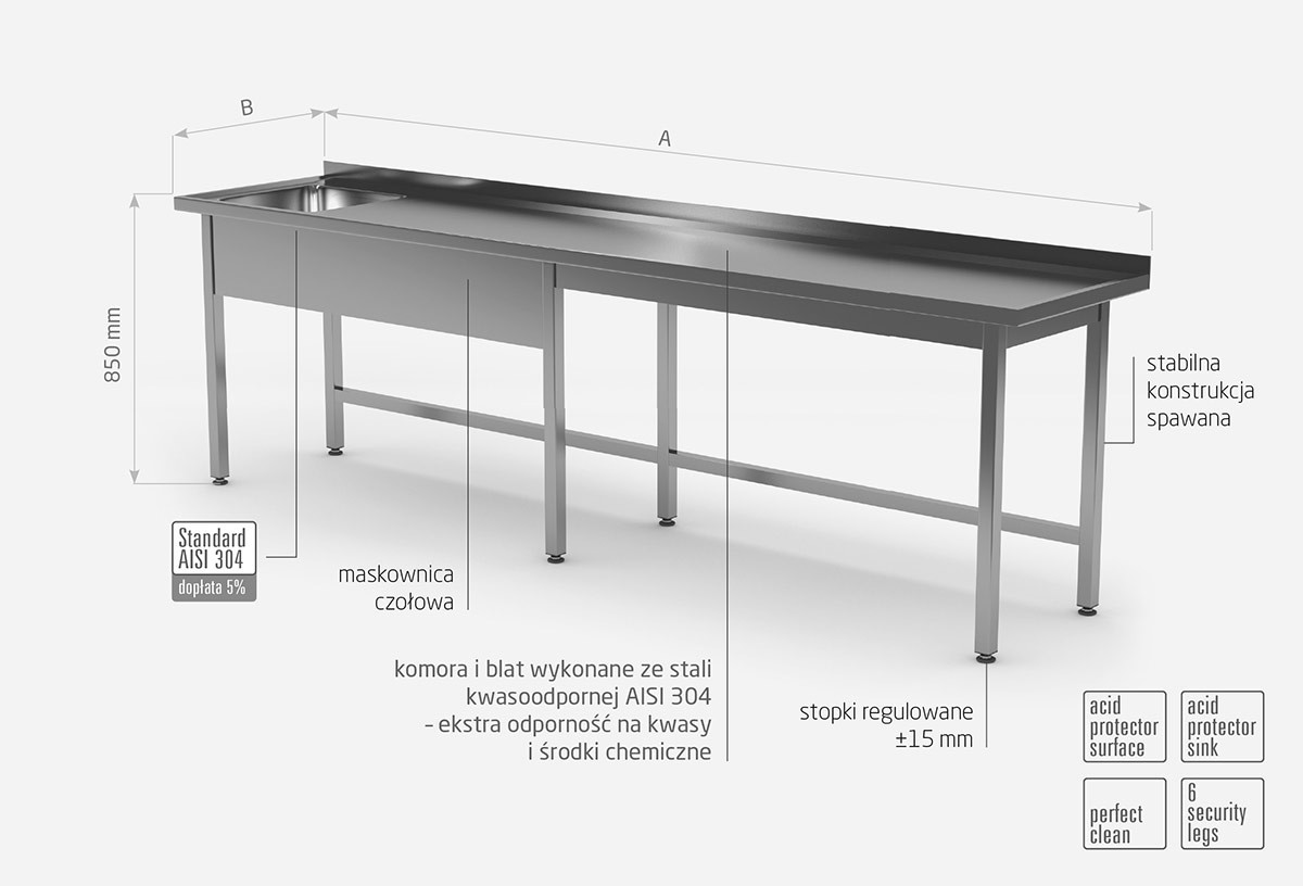 Stół ze zlewem bez półki - komora po lewej stronie
