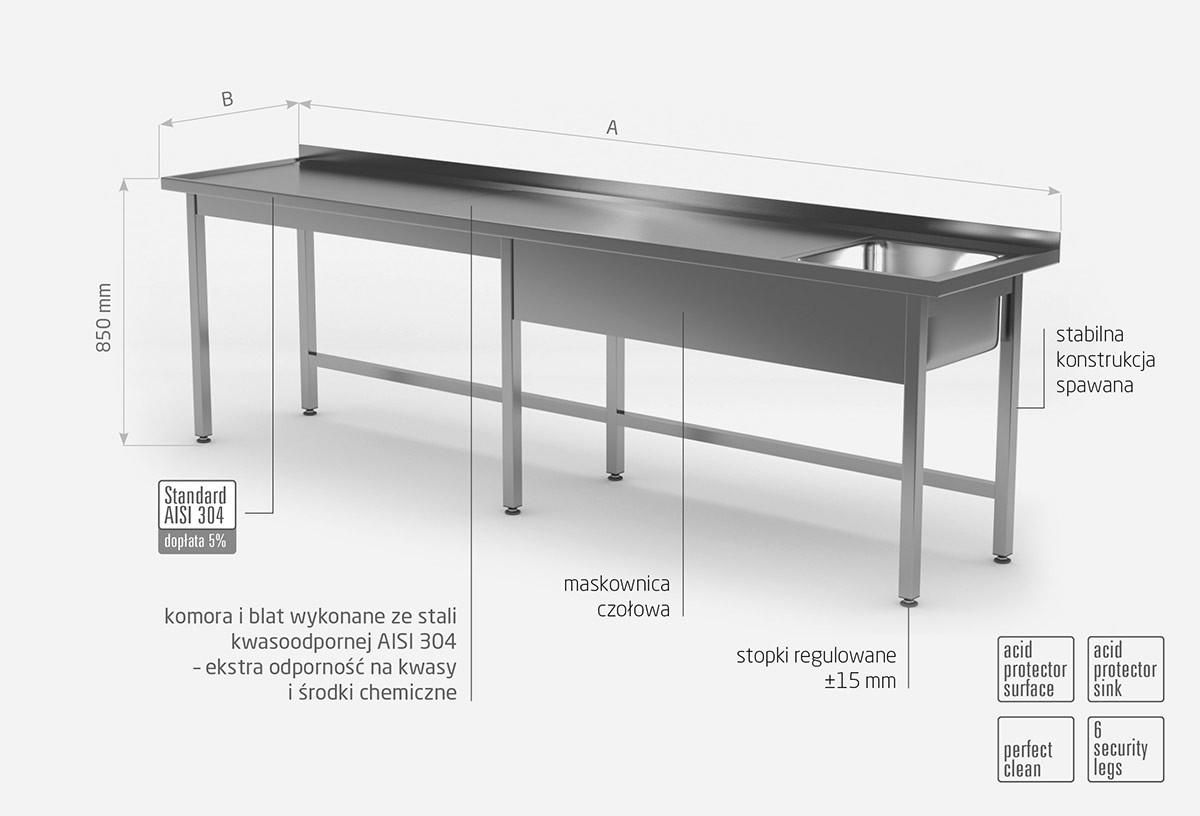 Stół ze zlewem bez półki - komora po prawej stronie
