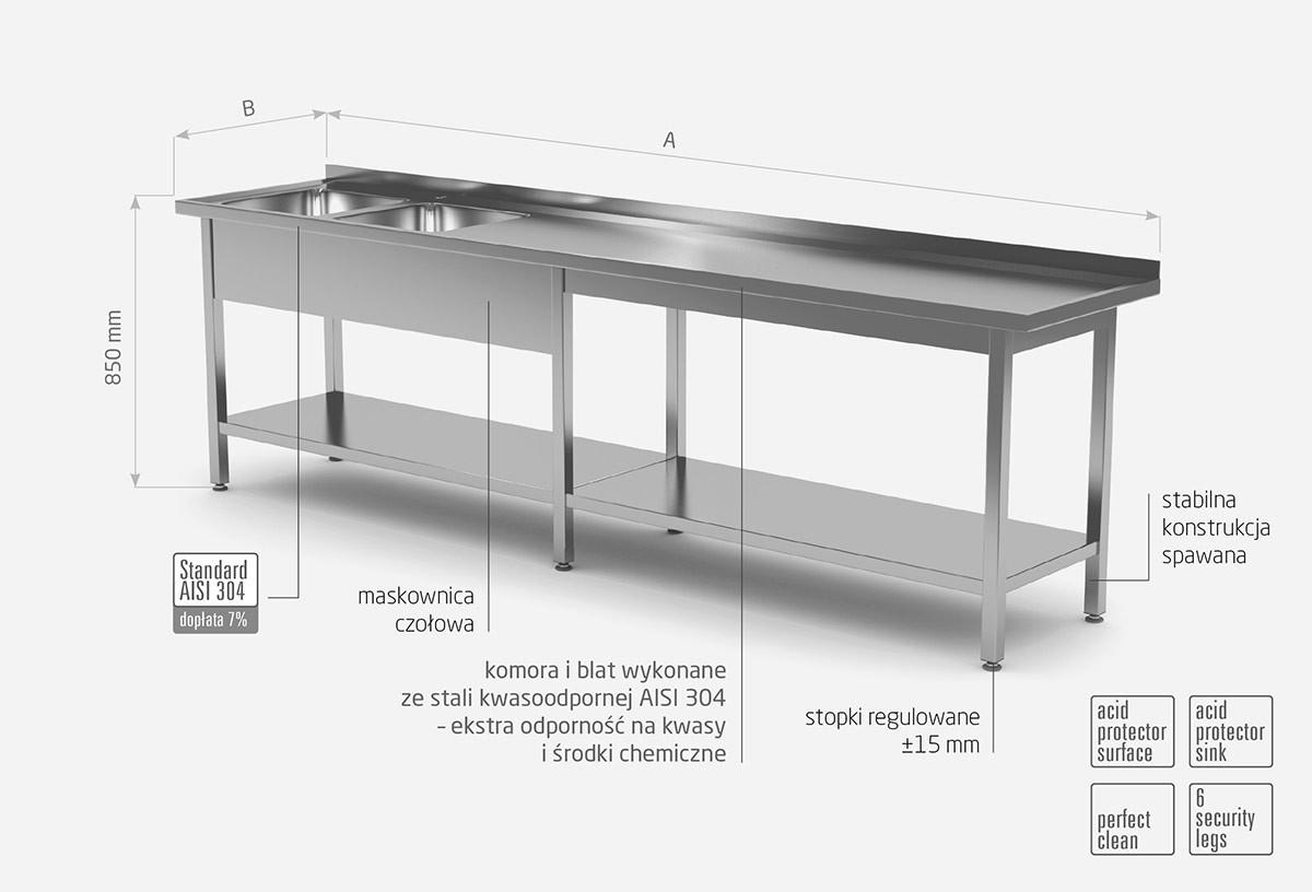 Stół z dwoma zlewami i półką wzmocniony - komory po lewej stronie - POL-222-6-L