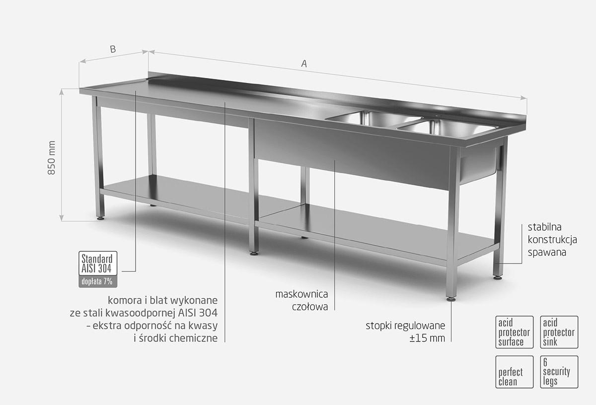 Stół z dwoma zlewami i półką wzmocniony - komory po prawej stronie - POL-222-6-P