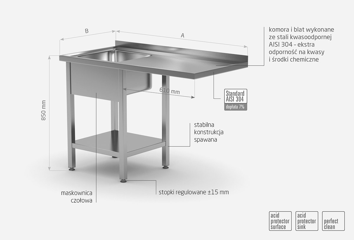 Stół ze zlewem, półką i miejscm na zmywarkę lub lodówkę - komora po lewej stronie - POL-231-L