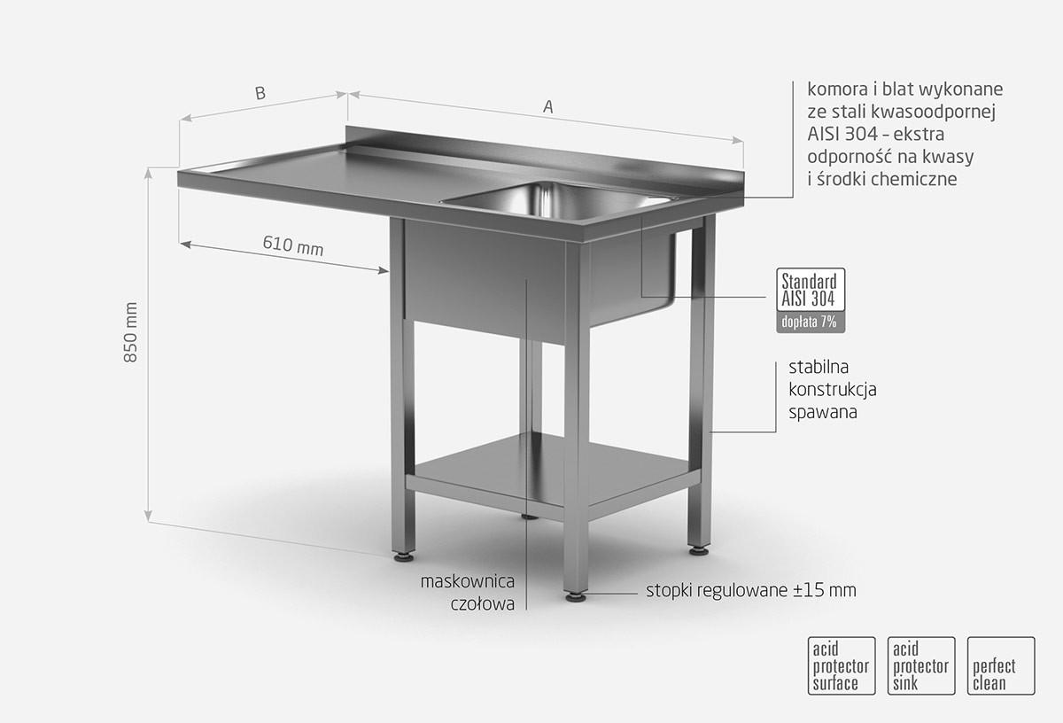 Stół ze zlewem, półką i miejscm na zmywarkę lub lodówkę - komora po prawej stronie - POL-231-P