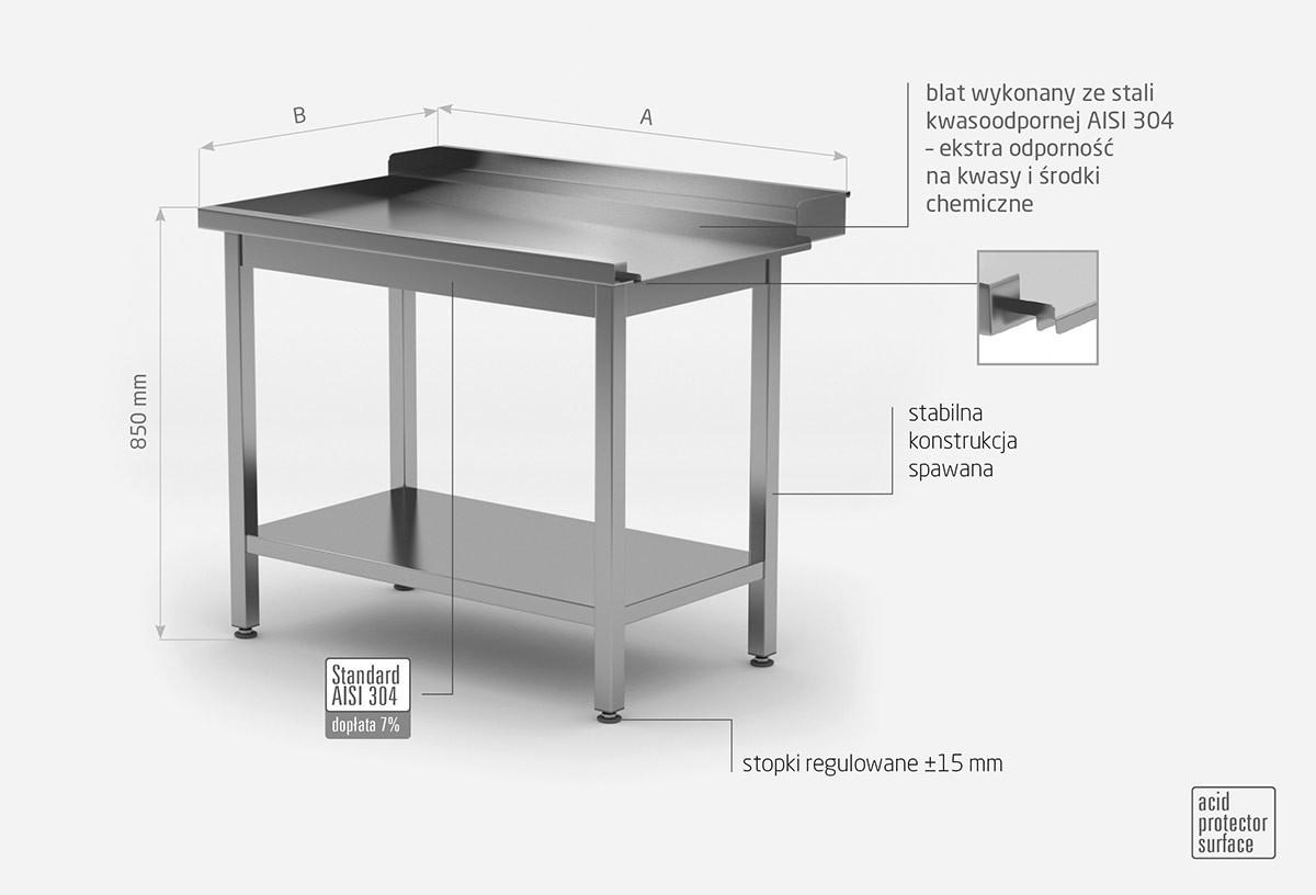 Stół wyładowczy do zmywarek z półką - lewy - POL-237-L