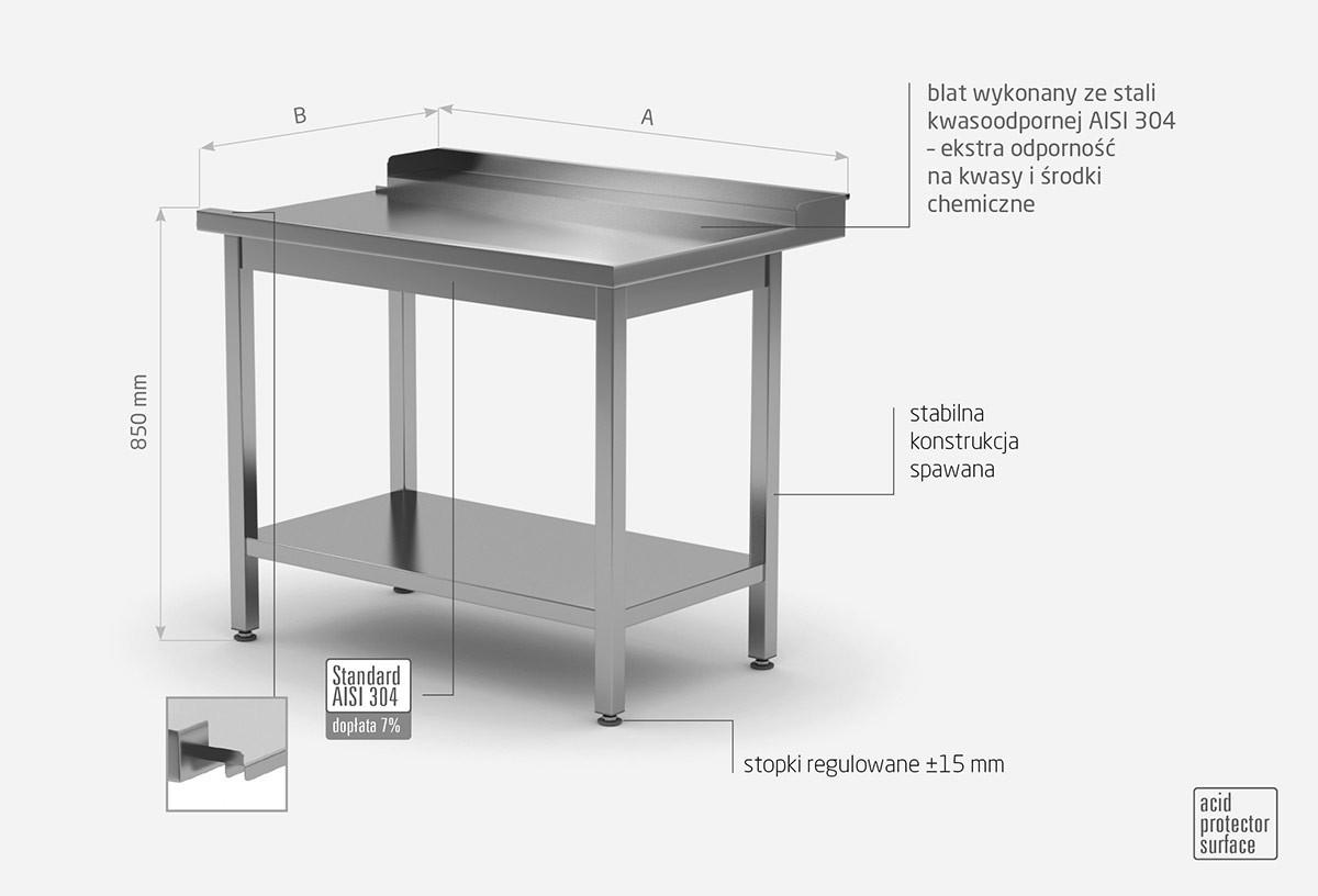 Stół wyładowczy do zmywarek z półką - prawy - POL-237-P