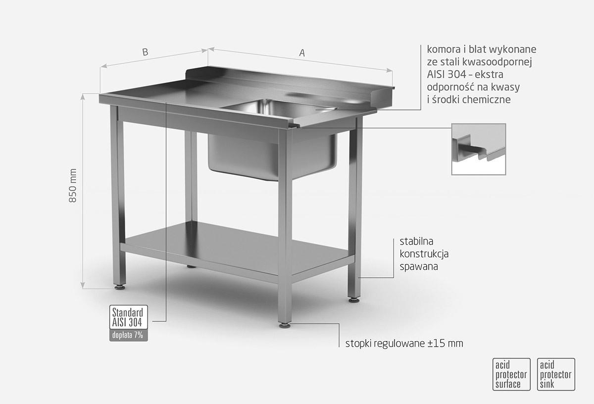 Stół załadowczy do zmywarek ze zlewem i półką - lewy - POL-238-L