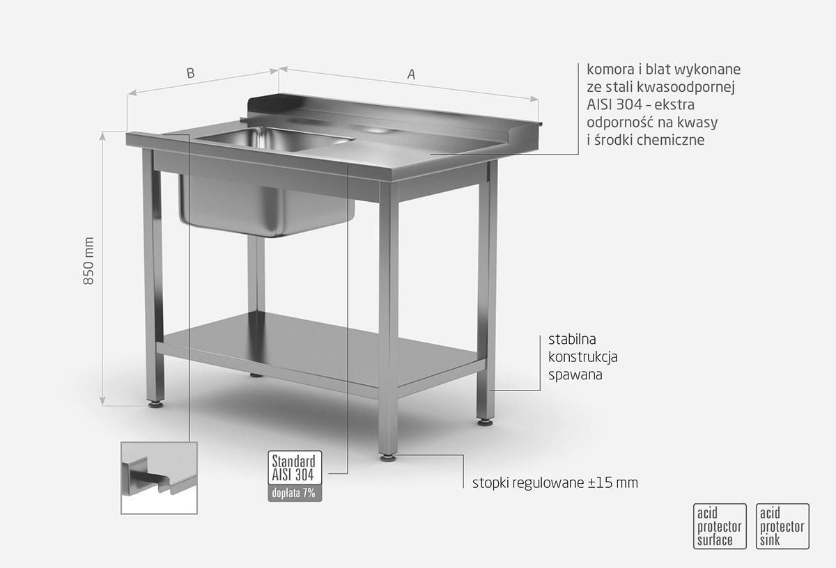 Stół załadowczy do zmywarek ze zlewem i półką - prawy- POL-238-P