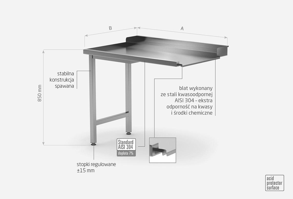 Stół wyładowczy do zmywarek na dwóch nogach - lewy