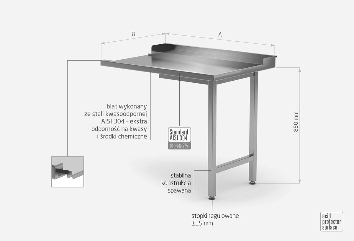 Stół wyładowczy do zmywarek na dwóch nogach - prawy