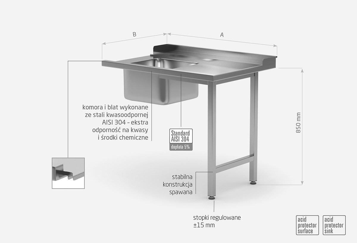Stół załadowczy do zmywarek ze zlewem na dwóch nogach - prawy
