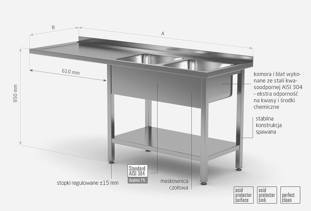 Stół z dwoma zlewami, półką i miejscem na zmywarkę lub lodówkę - komory po prawej stronie - POL-241-P