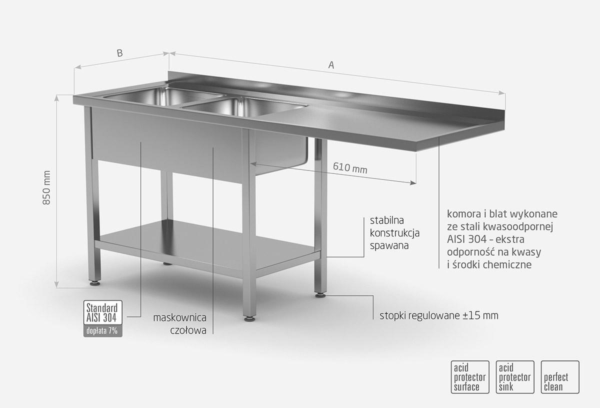 Stół z dwoma zlewami, półką i miejscem na zmywarkę lub lodówkę - komory po lewej stronie - POL-241-L