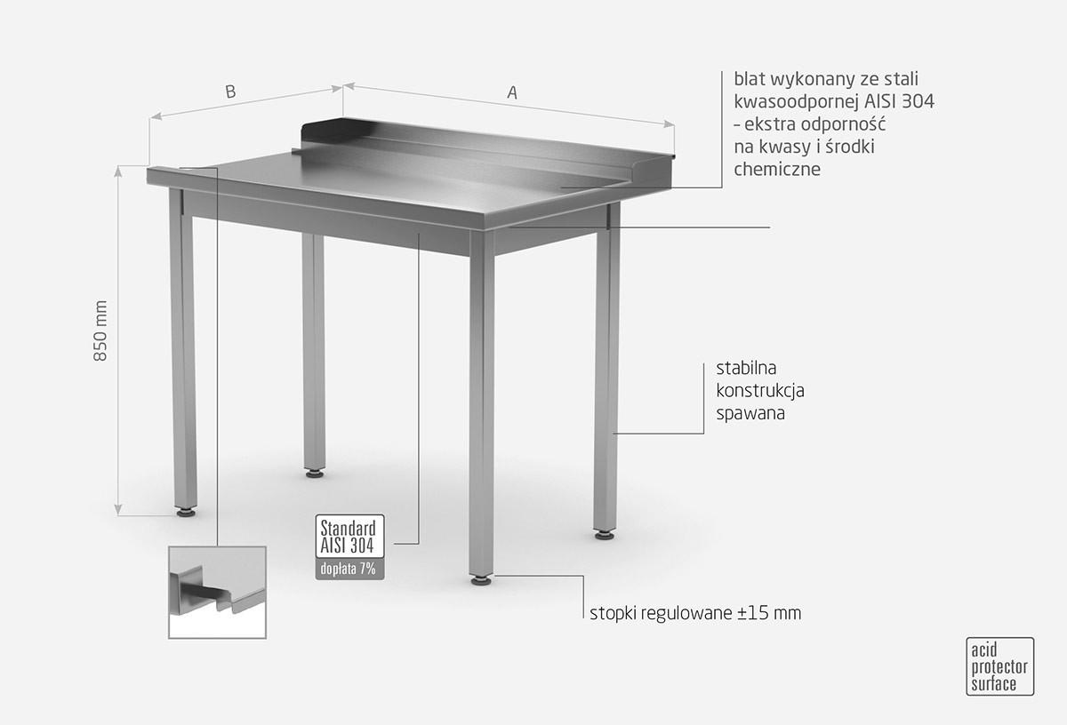 Stół wyładowczy do zmywarek bez półki - prawy - POL-247-P