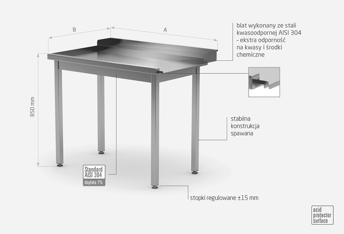 Stół wyładowczy do zmywarek bez półki - lewy - POL-247-L