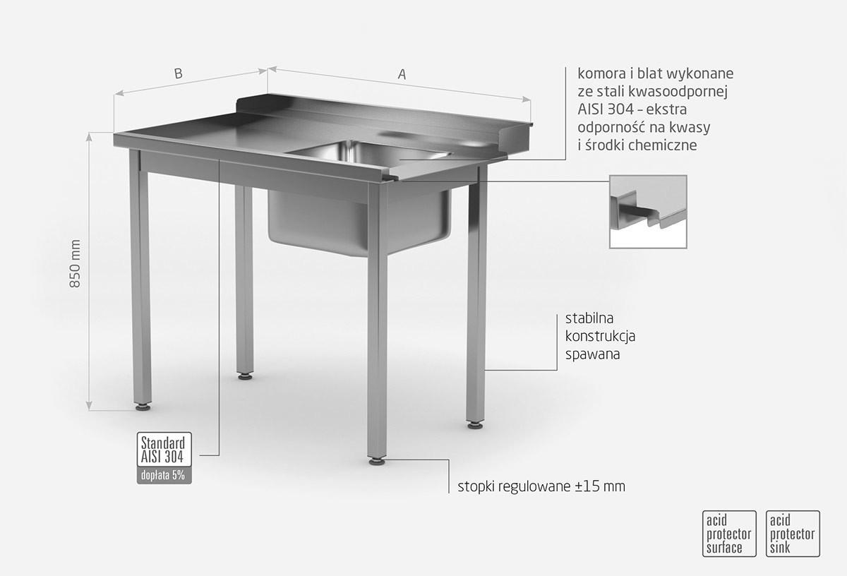 Stół załadowczy do zmywarek ze zlewm bez półki - lewy - POL-248-L