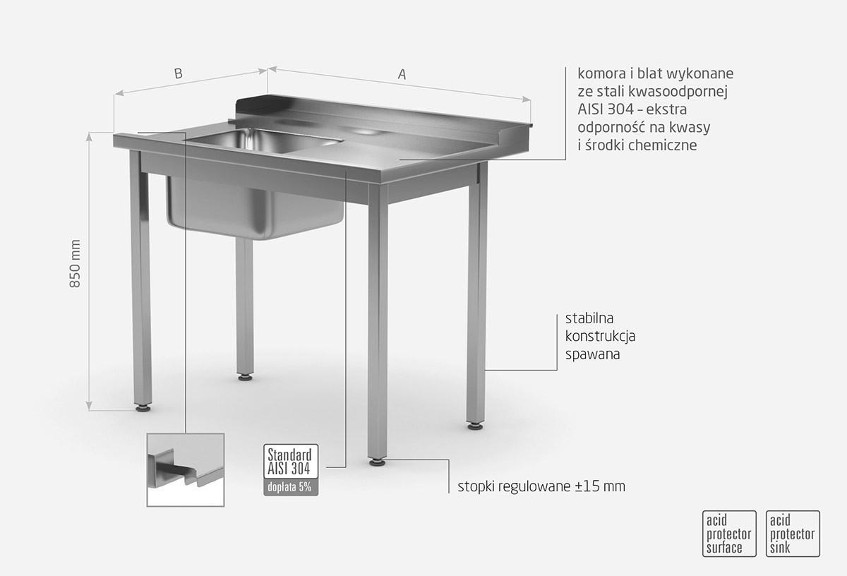 Stół załadowczy do zmywarek ze zlewm bez półki - prawy - POL-248-P