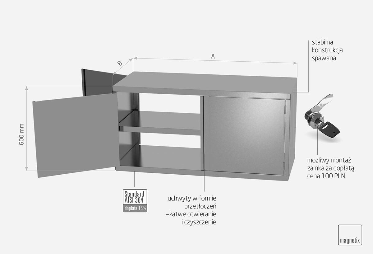 Szafka przelotowa z drzwiami na zawiasach, czworo drzwi - POL-310-2P