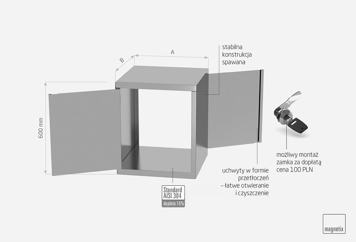 Szafka przelotowa z drzwiami na zawiasach, dwoje drzwi - POL-310P