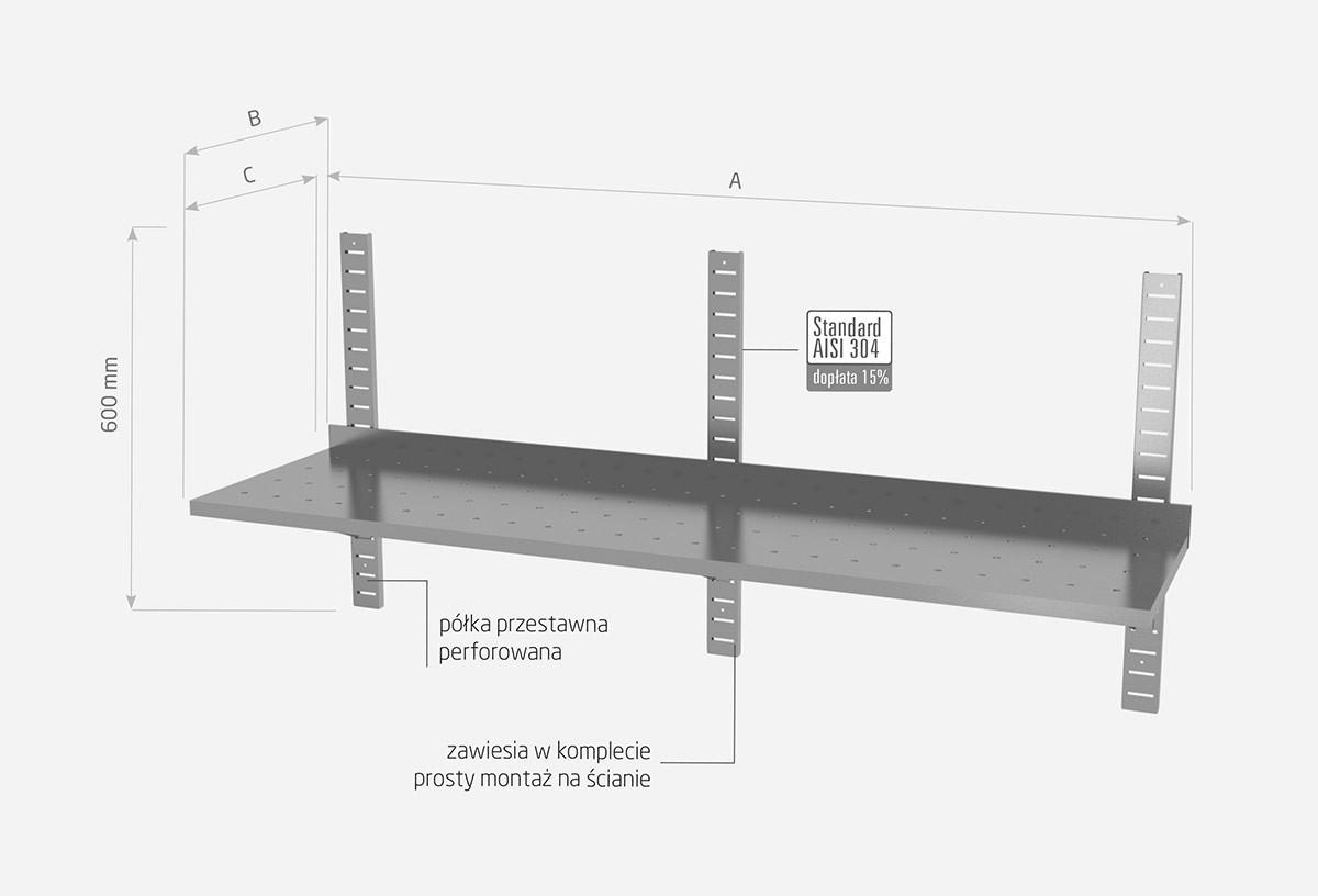 Półka wisząca przestawna pojedyncza, perforowana z trzema konsolami - POL-381-3-PERF