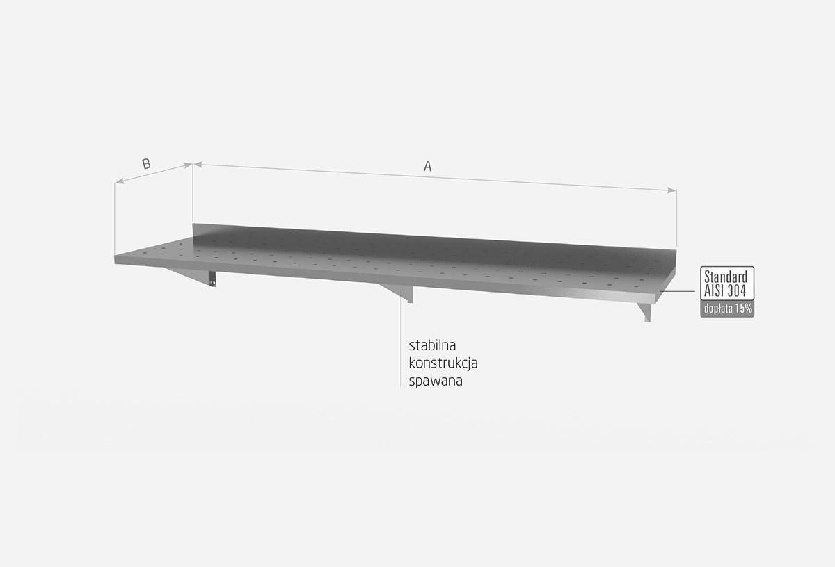 Półka wisząca na konsolach, perforowana z trzema konsolami - POL-382-3-PERF