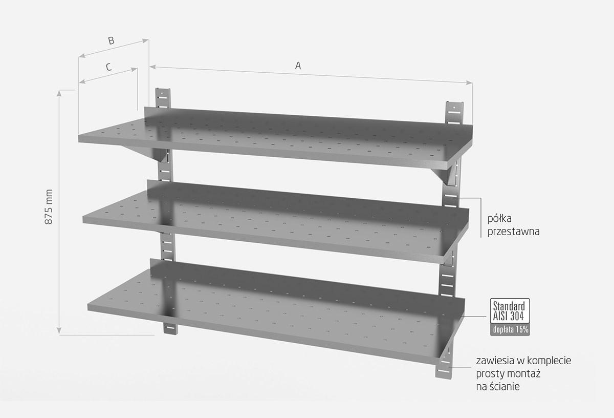 Półka wisząca przestawna potrójna, perforowana z dwiema konsolami- POL-385-PERF