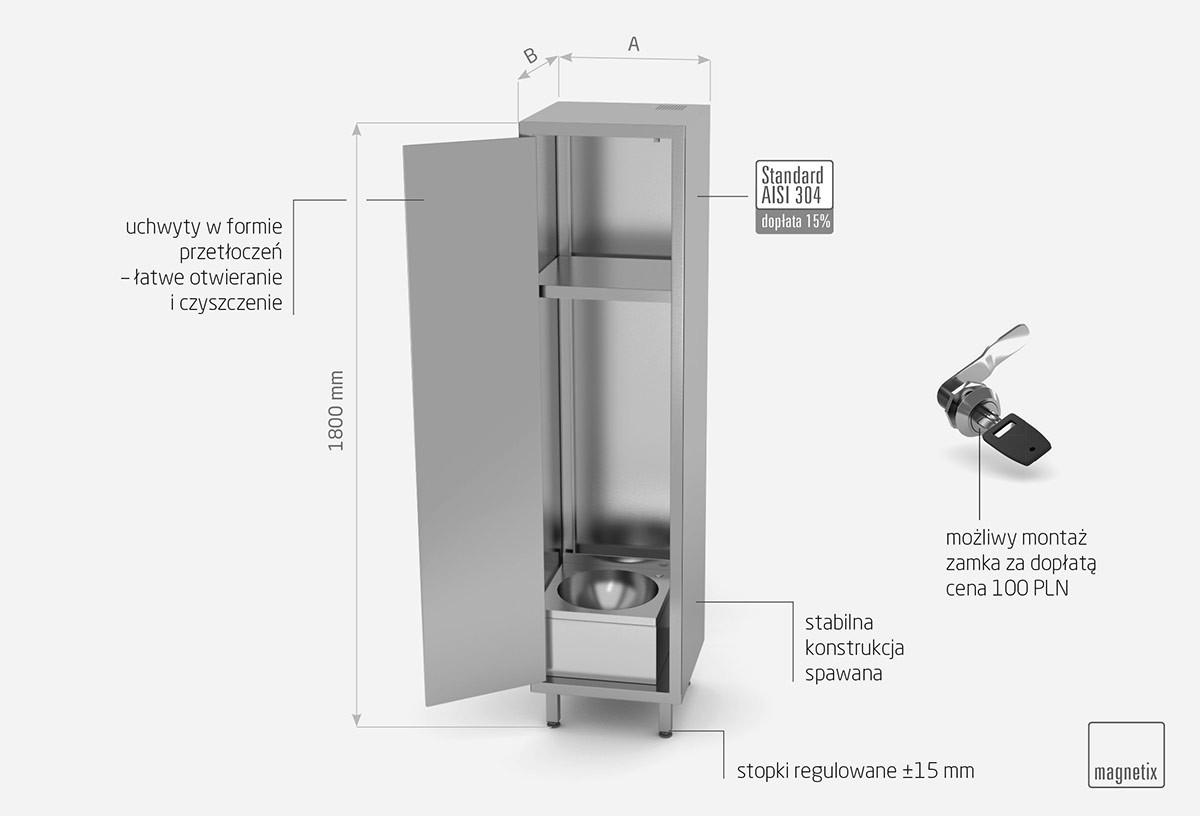 Szafa porządkowa z umywalką i drzwiami na zawiasach - POL-318