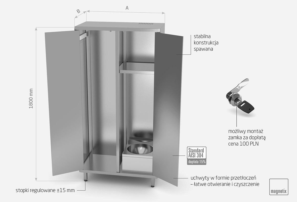 Szafa porządkowa z umywalka i drzwiami na zawiasach - POL-319