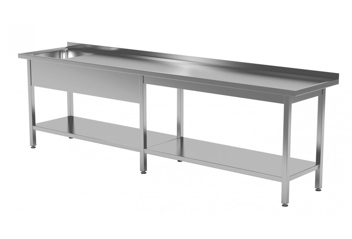 Stół ze zlewem i półką - komora po lewej stronie