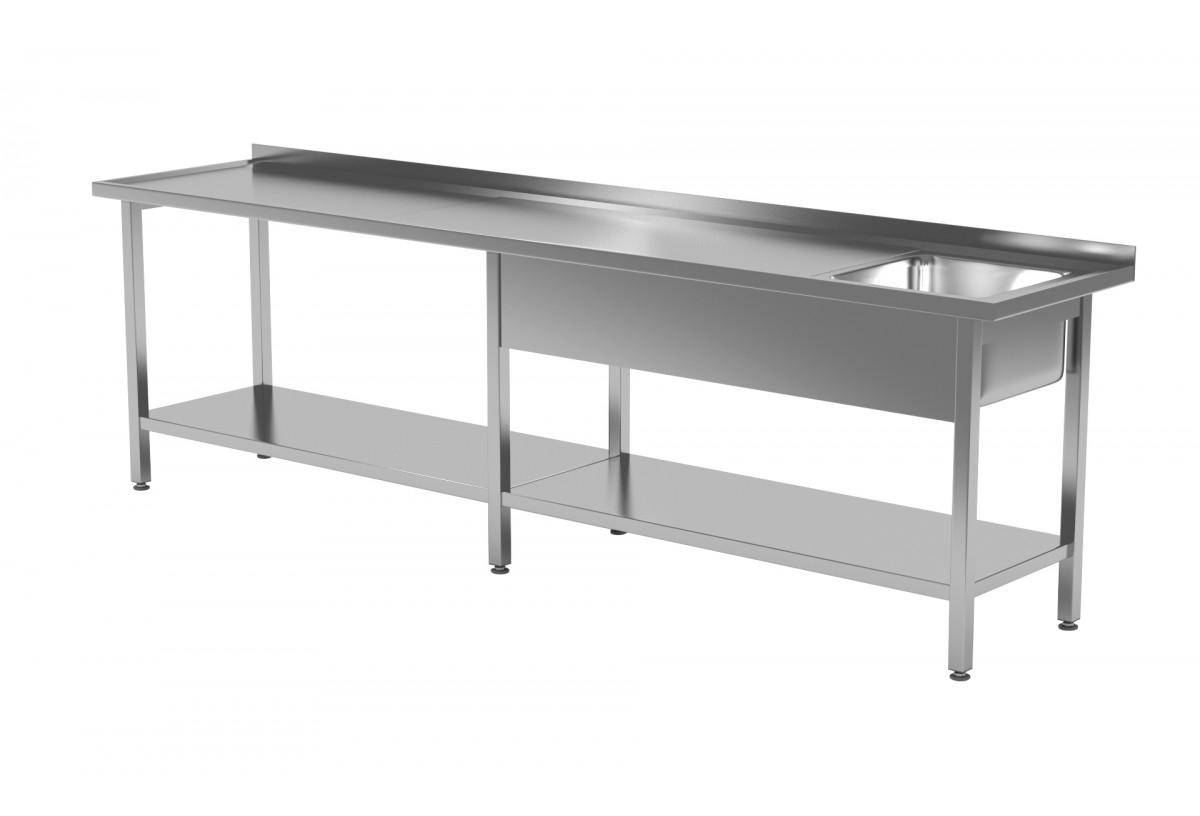 Stół ze zlewem i półką - komora po prawej stronie